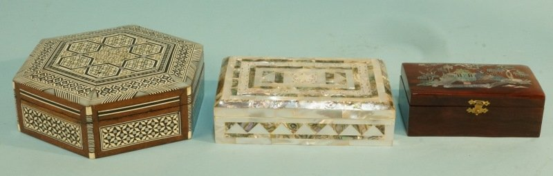 LOT OF THREE MOTHER OF PEARL BOXES