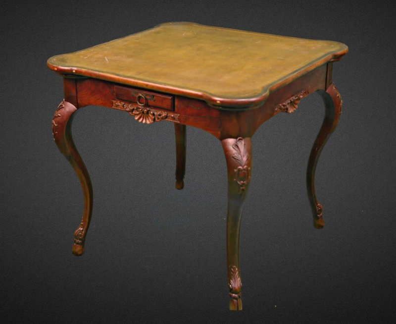 BAKER FRENCH STYLE GAME TABLE WITH TOOLED LEATHER