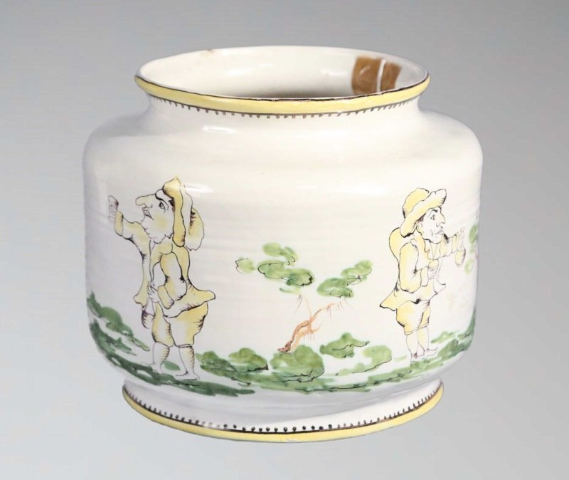 19th CENTURY MAJOLICA BOWL DECORATED WITH SCENES
