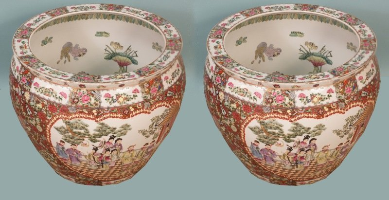 PAIR OF CHINESE FAMILLE ROSE FISH POTS