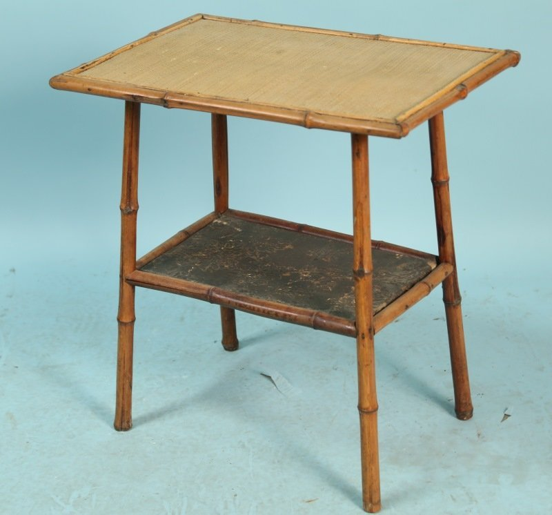 ANTIQUE TWO-TIER BURNT BAMBOO SIDE TABLE