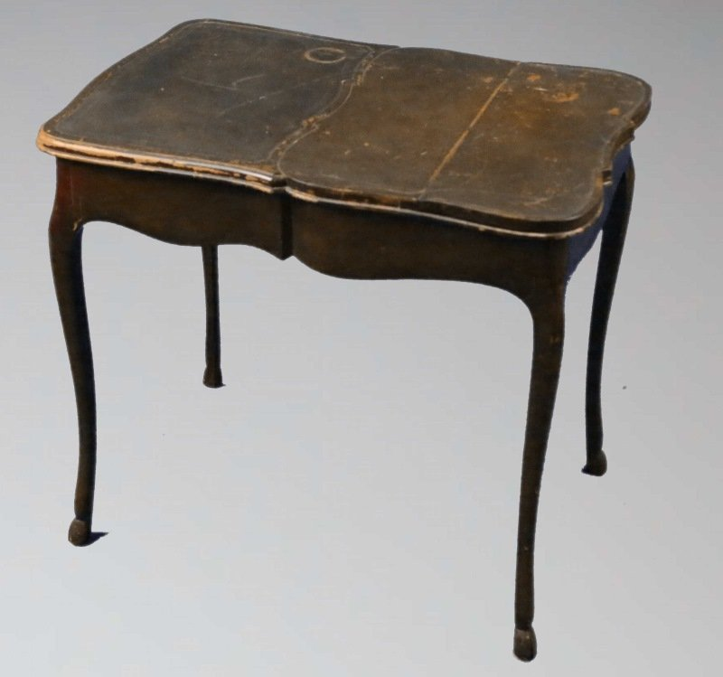 VINTAGE COUNTRY FRENCH LEATHER TOP TABLE