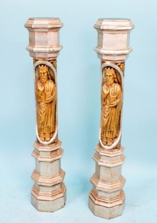 PAIR OF 19th C. CARVED SILVER & GOLD GILDED COLUMN