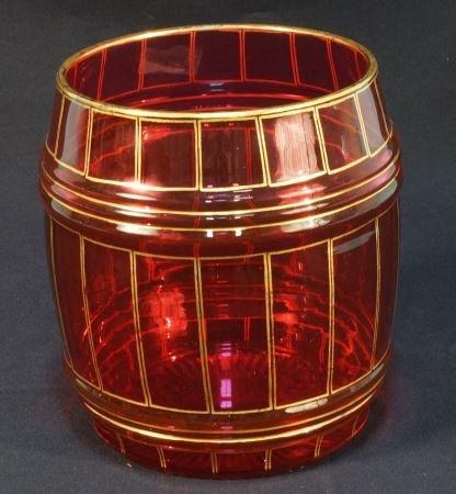 19th CENTURY CUT RUBY GLASS BARREL WITH GILT TRIM