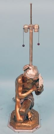 MARLBROUGH GOLD LEAF LAMP OF BOY WITH SHELL