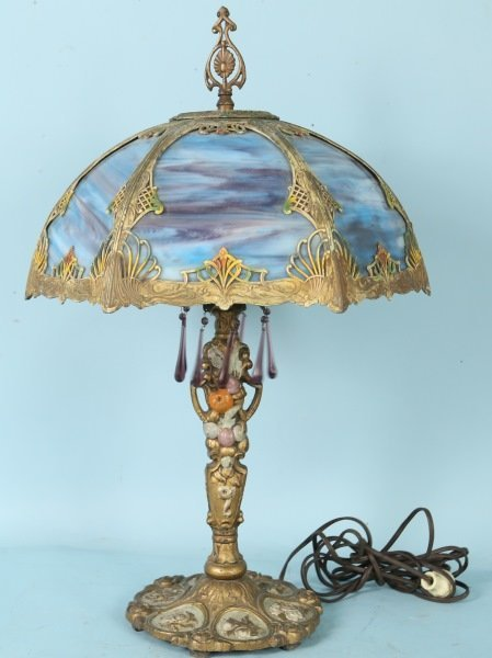 ART DECO SLAG GLASS DOME SHADE LAMP