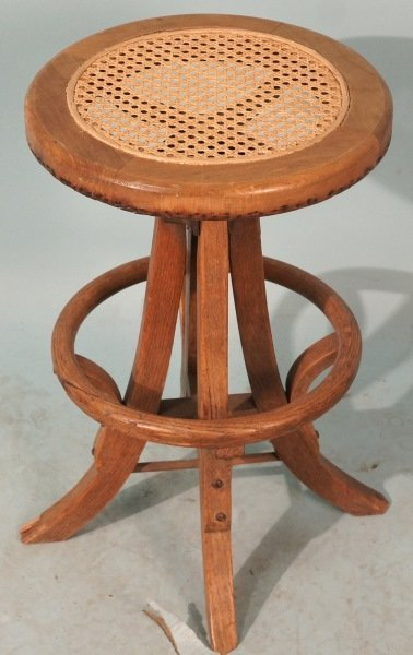 VINTAGE SWIVEL STOOL WITH CANE SEAT