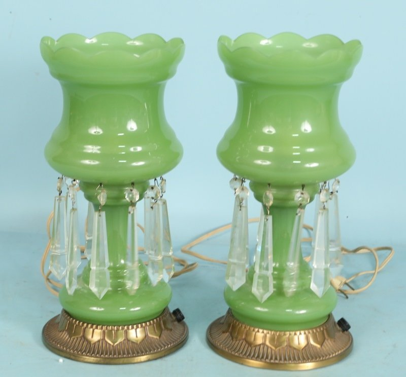 PAIR OF VINTAGE GREEN LUSTER GLASS LAMPS
