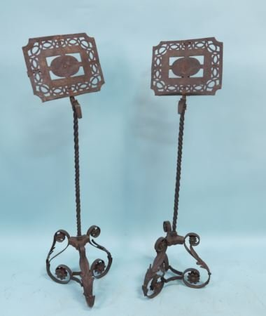 PAIR OF 18th CENTURY FRENCH IRON MUSIC STANDS