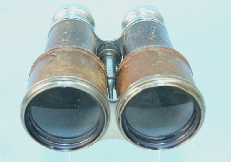 VINTAGE LEATHER AND METAL BINOCULARS