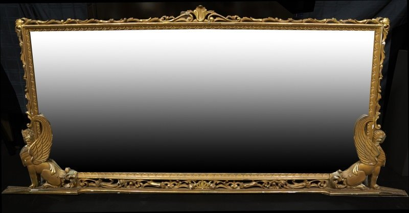 19th C. FRENCH WOOD CARVED & GILDED MIRROR