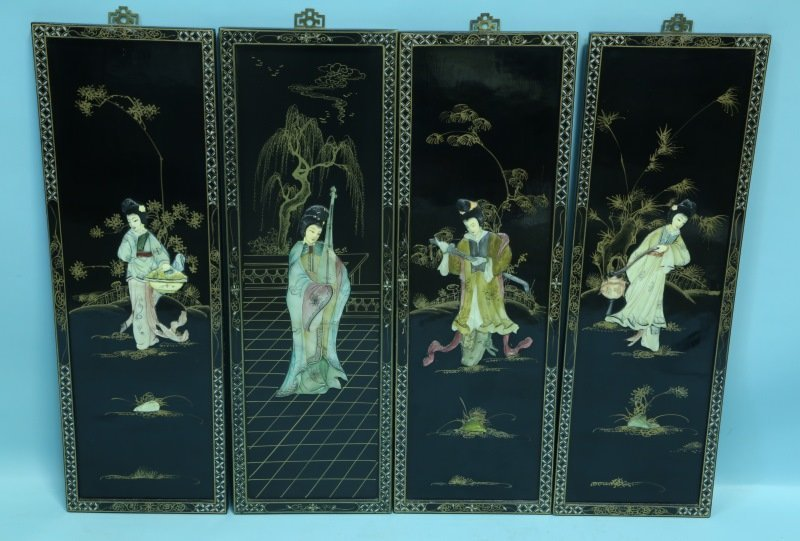 SET OF FOUR BLACK LACQUERED CHINESE WALL PANELS