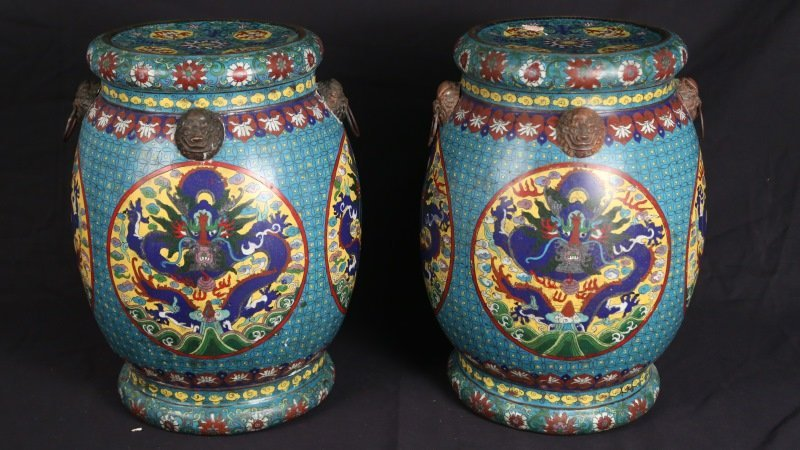 PAIR OF CHINESE CLOISONNE GARDEN STOOLS