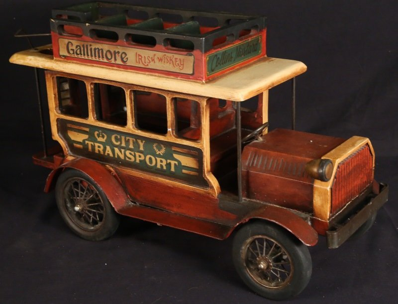 PAINTED WOOD AND METAL DOUBLE DECKER BUS