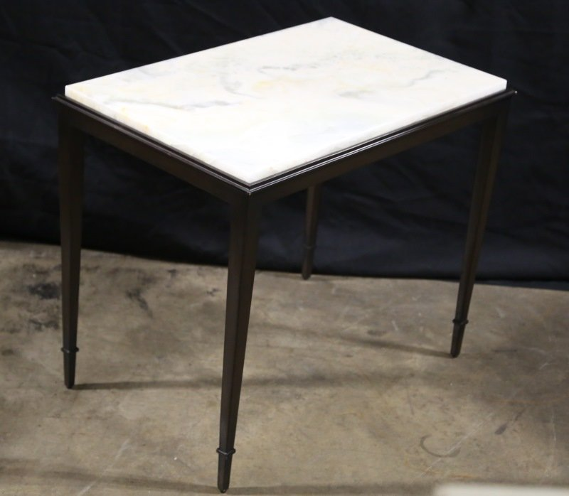 HICKORY CHAIR ONYX TOP BRONZE BASE SIDE TABLE
