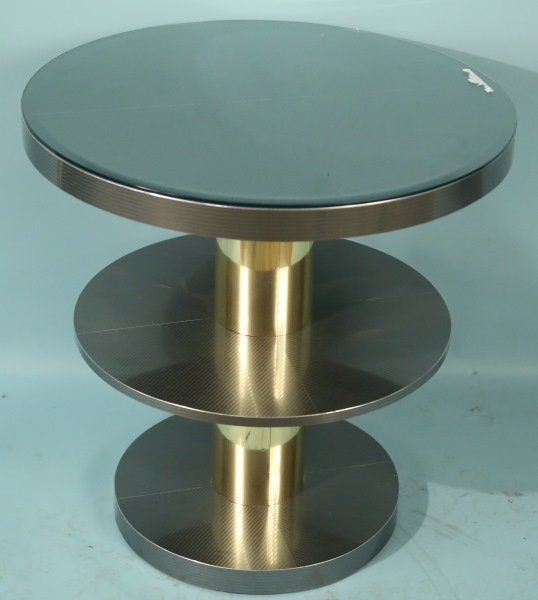 CONTEMPORARY CHROME GLASS TOP OCCASIONAL TABLE