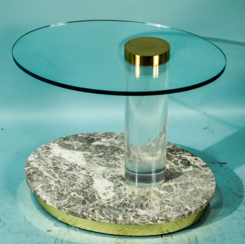 GLASS TOP LUCITE LEG MARBLE BASE TABLE.