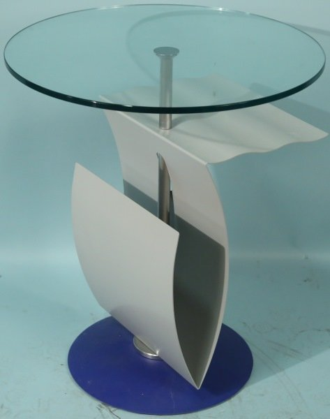 PAINTED METAL SCULPTURE GLASS TOP ART TABLE