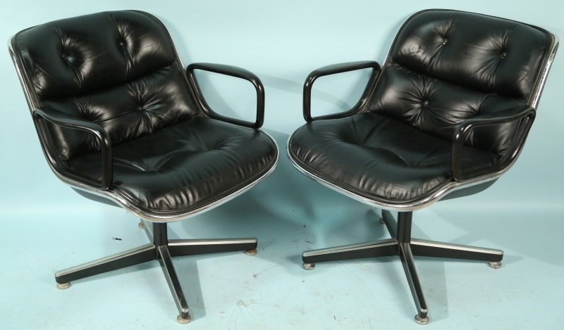 PAIR OF HERMAN MILLER LEATHER ARMCHAIRS