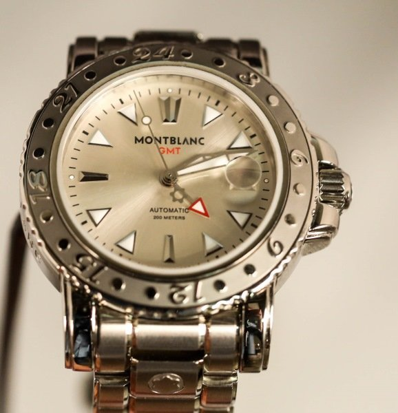 MONT BLANC GMT STAINLESS STEEL WATCH