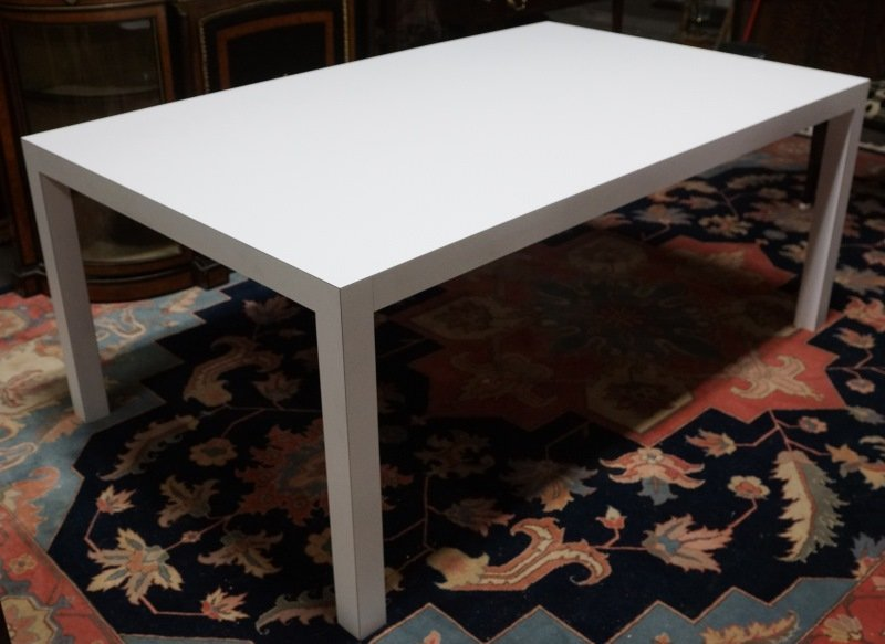 VINTAGE WHITE FORMICA PARSONS TABLE