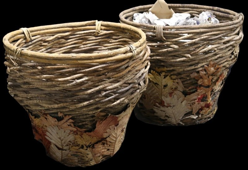 PAIR OF WOVEN TWIG BASKETS