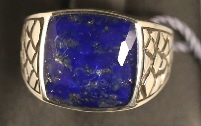 STERLING SILVER CLEAR QUARTZ OVER LAPIS RING