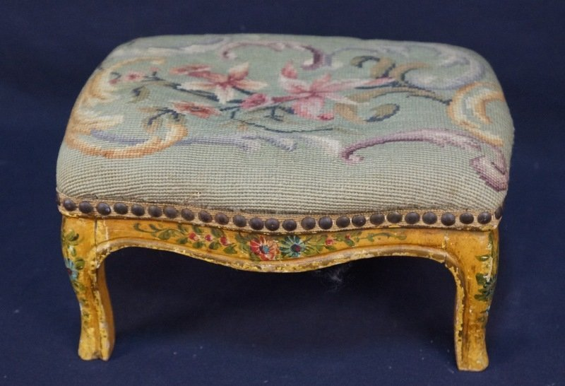 ANTIQUE FRENCH PAINTED & NEEDLEPOINT FOOT STOOL
