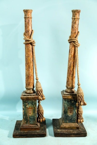 PAIR OF 19th CENTURY ITALIAN FAUX MARBLE COLUMNS
