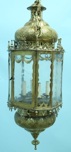 ANTIQUE OCTAGONAL BRASS & GLASS LANTERN
