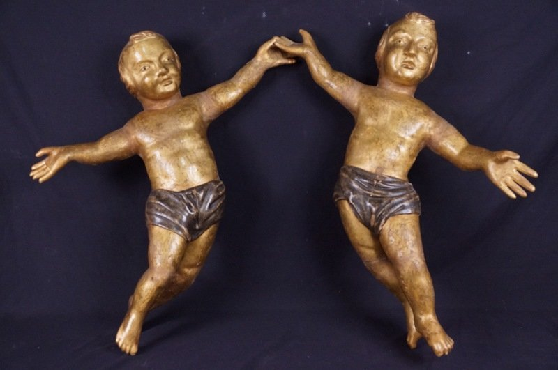 PAIR OF 18th CENTURY CARVED/GILDED ITALIAN CHERUBS