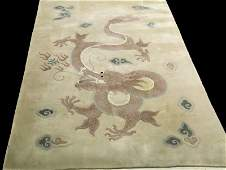 HAND KNOTTED WOOL CHINESE DRAGON RUG