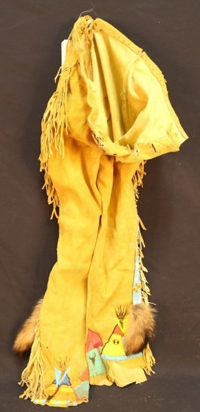 NATIVE AMERICAN INDIAN SUEDE PANTS WITH BEADING