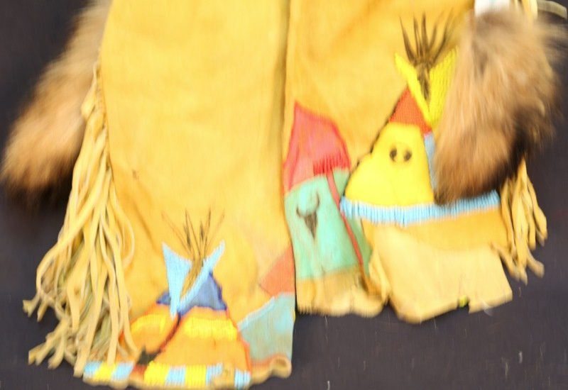 NATIVE AMERICAN INDIAN SUEDE PANTS WITH BEADING - 2