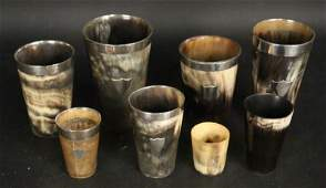 LOT OF 8 19th C HORN CUPS WITH HALLMARKED SILVER