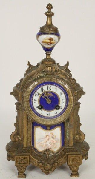 19th C. FRENCH GILT BRONZE PORCELAIN PLAQUE CLOCK