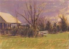 WILLIAM ANZALONE HOUSE  FENCE OIL PASTELPAPER