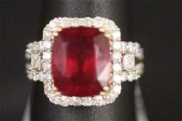14KT YELLOW GOLD 794CT RUBY  133CT DIAMOND RING