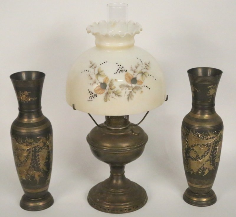 PAIR OF BRASS VASES & OIL  LAMP WITH PAINTED SHADE