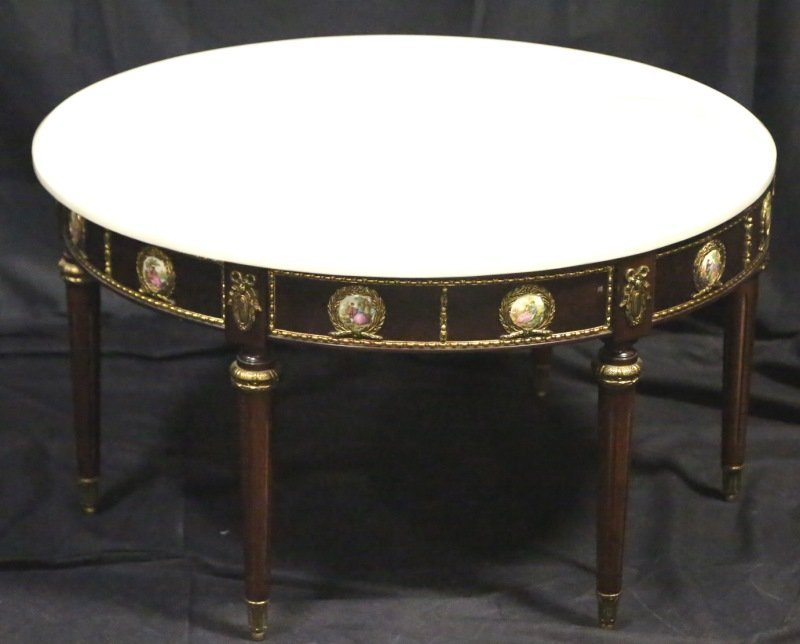 FRENCH EMPIRE STYLE MARBLE TOP COFFEE TABLE