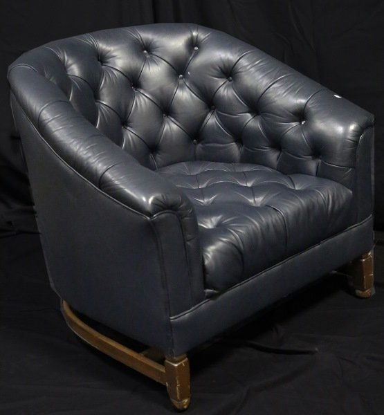 CIRCA 1970's CHESTERFIELD STYLE LEATHER CLUB CHAIR