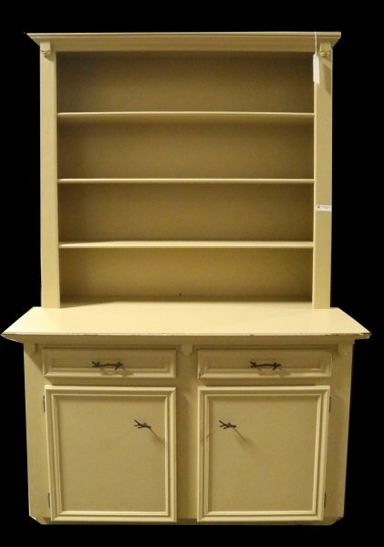 PAINTED BOOKCASE CABINET WITH SHELVES