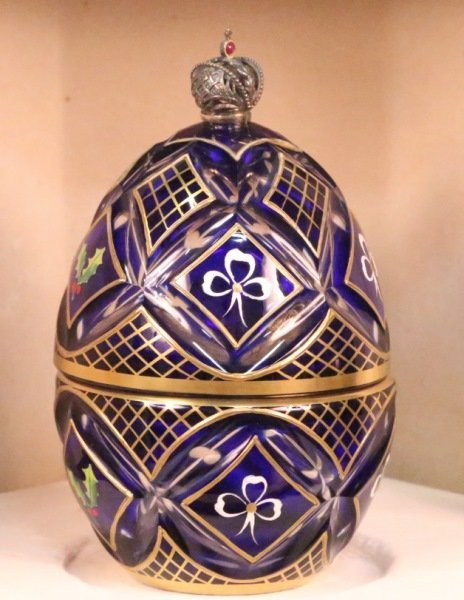 "THEO FABERGE ""THE WINTER EGG"" IN COBALT BLUE"