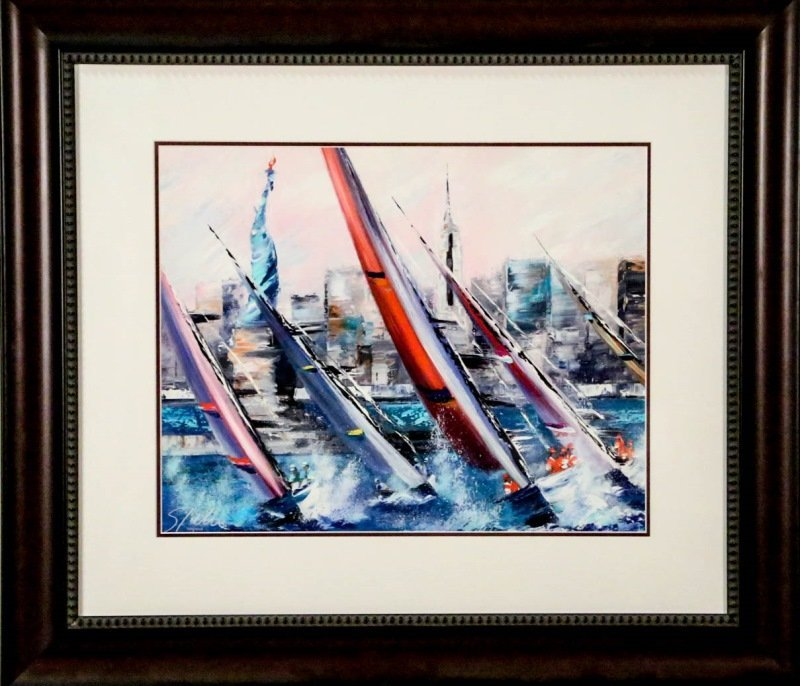 """VICTOR SPAHN """"SAILS OUTSIDE NEW YORK"""" LITHO"""