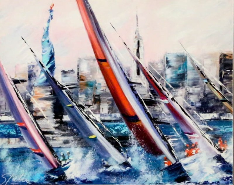 """VICTOR SPAHN """"SAILS OUTSIDE NEW YORK"""" LITHO - 2"""