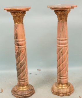 Pair Of 19th Marble Columns With Bronze Mounts