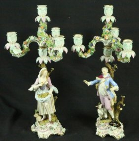 Two 19th C. Meissen German Porcelain Candlebra