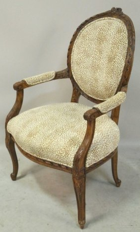 French Style Leopard Print Upholstered Armchair