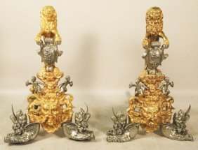 Pair Of Vintage Bronze Lion Andirons