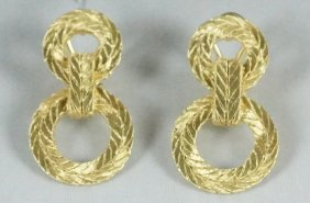 Pair Of Buccellati 18kt Yellow Gold Earrings
